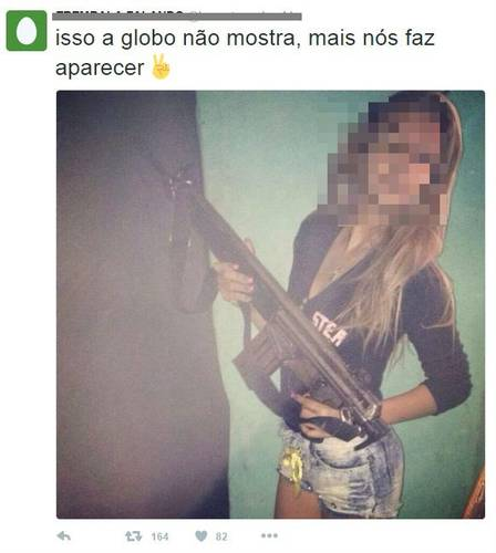Tweet says: globo news agency won't show this, but we'll make sure it's seen.